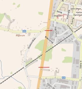 Karta. Kartbild över avstängningen av E22 vid järnvägsövergången i Oknebäck